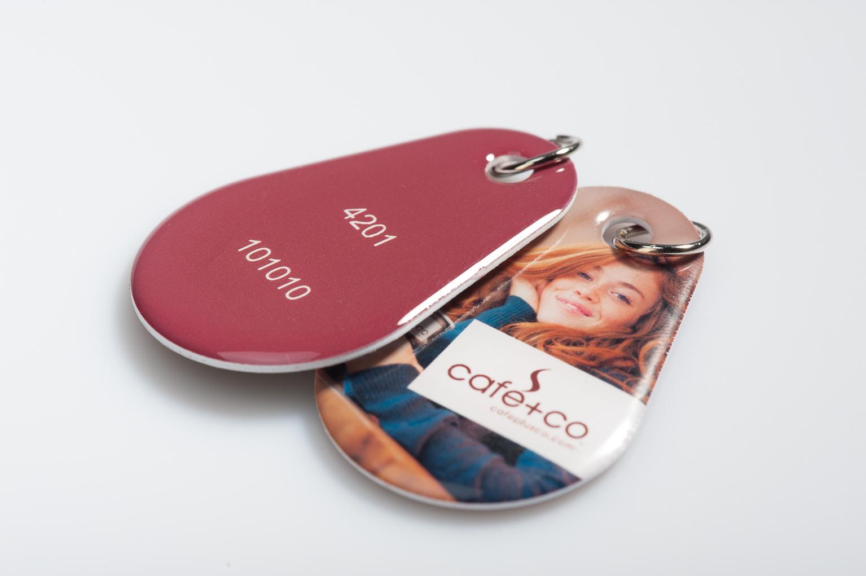 RFID čipová klíčenka s oboustranným potiskem a epoxy krytím